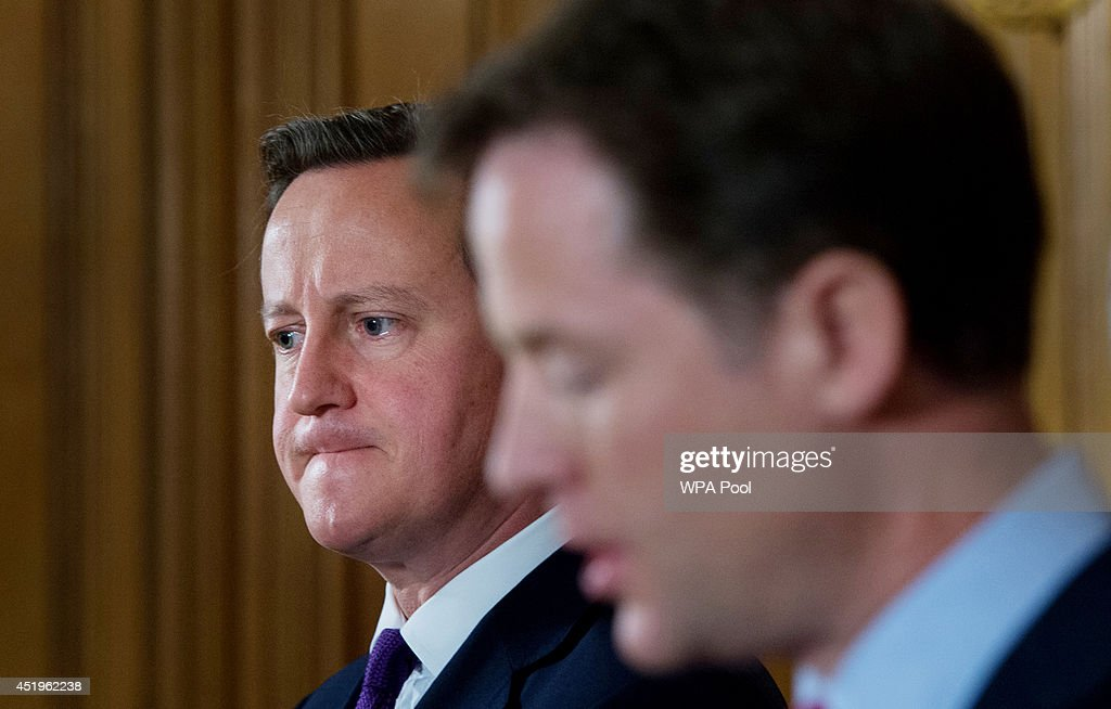 Prime Minister David Cameron and Deputy Prime Minister <a gi-track='captionPersonalityLinkClicked' href=/galleries/search?phrase=Nick+Clegg&family=editorial&specificpeople=579276 ng-click='$event.stopPropagation()'>Nick Clegg</a> hold a news conference to talk about the confirmation that new laws are to be rushed through Parliament to allow police and MI5 to probe mobile phone and internet data at 10 Downing Street on July 10, 2014 in London, England.