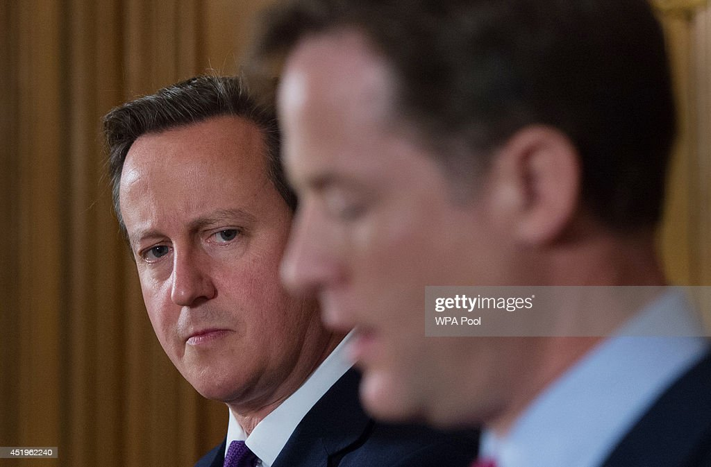 Prime Minister David Cameron and Deputy Prime Minister Nick Clegg hold a news conference to talk about the confirmation that new laws are to be rushed through Parliament to allow police and MI5 to probe mobile phone and internet data at 10 Downing Street on July 10, 2014 in London, England.