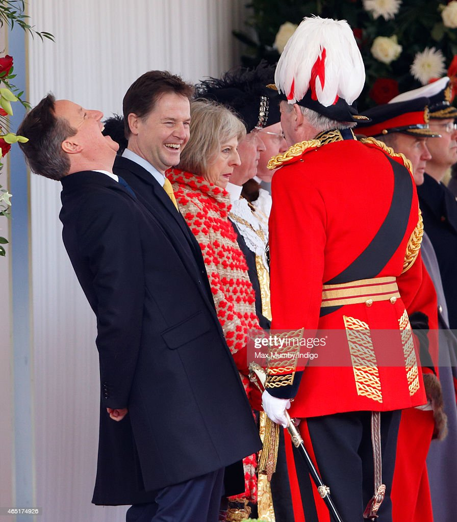 Prime Minister David Cameron and Deputy Prime Minister Nick Clegg talk with Lord Samuel Vestey (Master of the Horse) as they attend the Ceremonial Welcome for Mexican President Enrique Pena Nieto at Horse Guards Parade during day 1 of his state visit on March 3, 2015 in London, England. The President of Mexico, Enrique Pena Nieto accompanied by his wife Senora Angelica Rivera de Pena, are on a State Visit to the United Kingdom as the guests of Her Majesty The Queen from Tuesday 3rd March to Thursday 5th March.