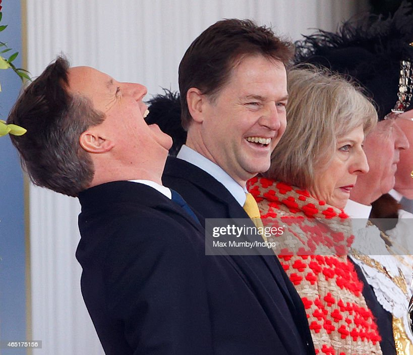 Prime Minister David Cameron and Deputy Prime Minister Nick Clegg attend the Ceremonial Welcome for Mexican President Enrique Pena Nieto at Horse Guards Parade during day 1 of his state visit on March 3, 2015 in London, England. The President of Mexico, Enrique Pena Nieto accompanied by his wife Senora Angelica Rivera de Pena, are on a State Visit to the United Kingdom as the guests of Her Majesty The Queen from Tuesday 3rd March to Thursday 5th March.