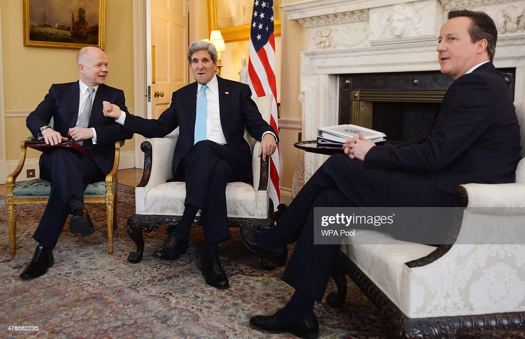 Prime Minister David Cameron (R) and Foreign Secretary <a gi-track='captionPersonalityLinkClicked' href=/galleries/search?phrase=William+Hague&family=editorial&specificpeople=206295 ng-click='$event.stopPropagation()'>William Hague</a> (L) meet with US Secretary of State <a gi-track='captionPersonalityLinkClicked' href=/galleries/search?phrase=John+Kerry&family=editorial&specificpeople=154885 ng-click='$event.stopPropagation()'>John Kerry</a> (C) in Downing Street, on March 14, 2014 in London, England. Mr Kerry will meet with his Russian counterpart Sergei Lavrov to discuss the Ukrainian crisis situation ahead of a disputed referendum in Crimea on Sunday.