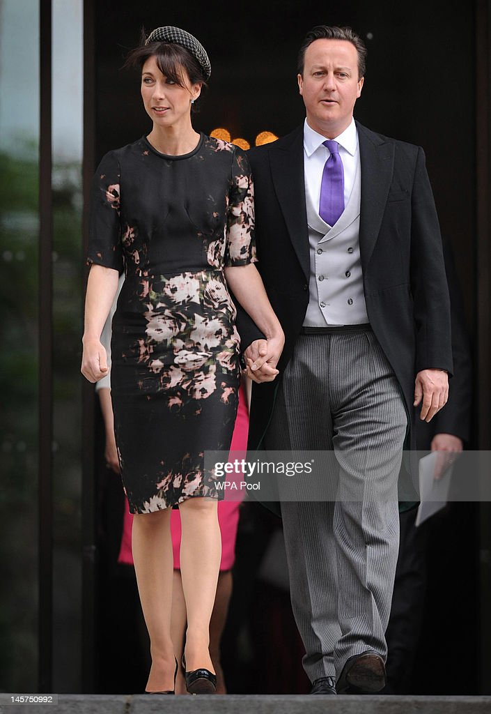 Prime Minister <a gi-track='captionPersonalityLinkClicked' href=/galleries/search?phrase=David+Cameron+-+Politician&family=editorial&specificpeople=227076 ng-click='$event.stopPropagation()'>David Cameron</a> and his wife Samantha leave St Paul's Cathedral after a service of thanksgiving to mark the Queen's Diamond Jubilee on June 5, 2012 in London, England. For only the second time in its history the UK celebrates the Diamond Jubilee of a monarch. Her Majesty Queen Elizabeth II celebrates the 60th anniversary of her ascension to the throne today with a carriage procession and a service of thanksgiving at St Paul's Cathedral.