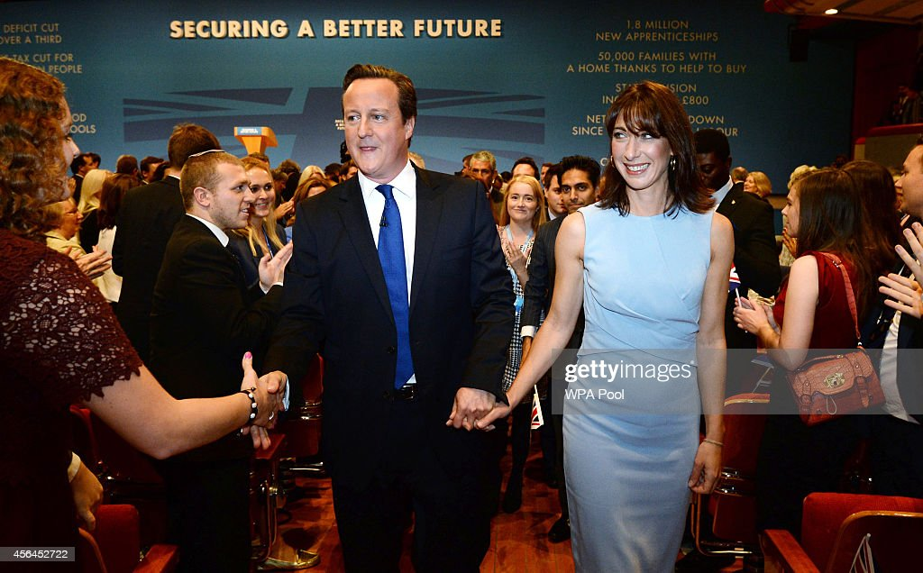 Prime Minister David Cameron and his wife Samantha leave the stage following his keynote speech to the Conservative party conference on October 1...