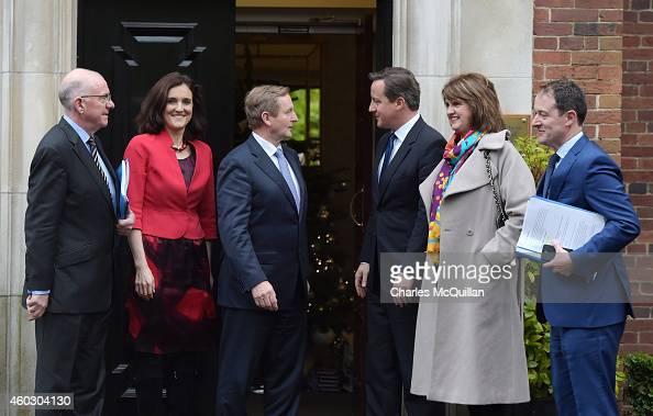 Prime Minister David Cameron and Irish Taoiseach Enda Kenny alongside Northern Ireland Secretary of State Theresa Villiers and Irish Tanaiste Joan...