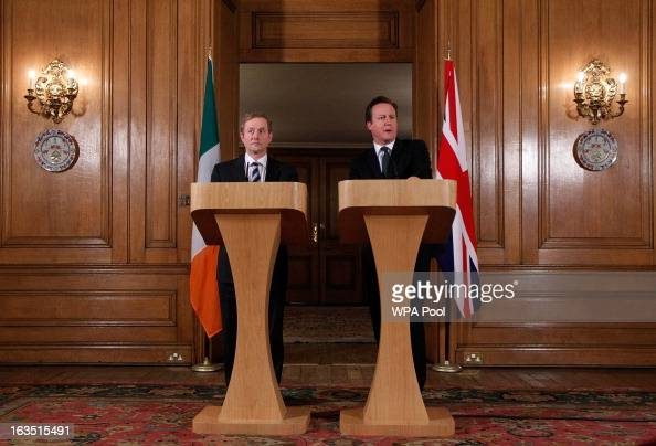 Prime Minister David Cameron and Irish Taoiseach Enda Kenny speak to the media after a meeting at 10 Dowing Street on March 11 2013 in London England...
