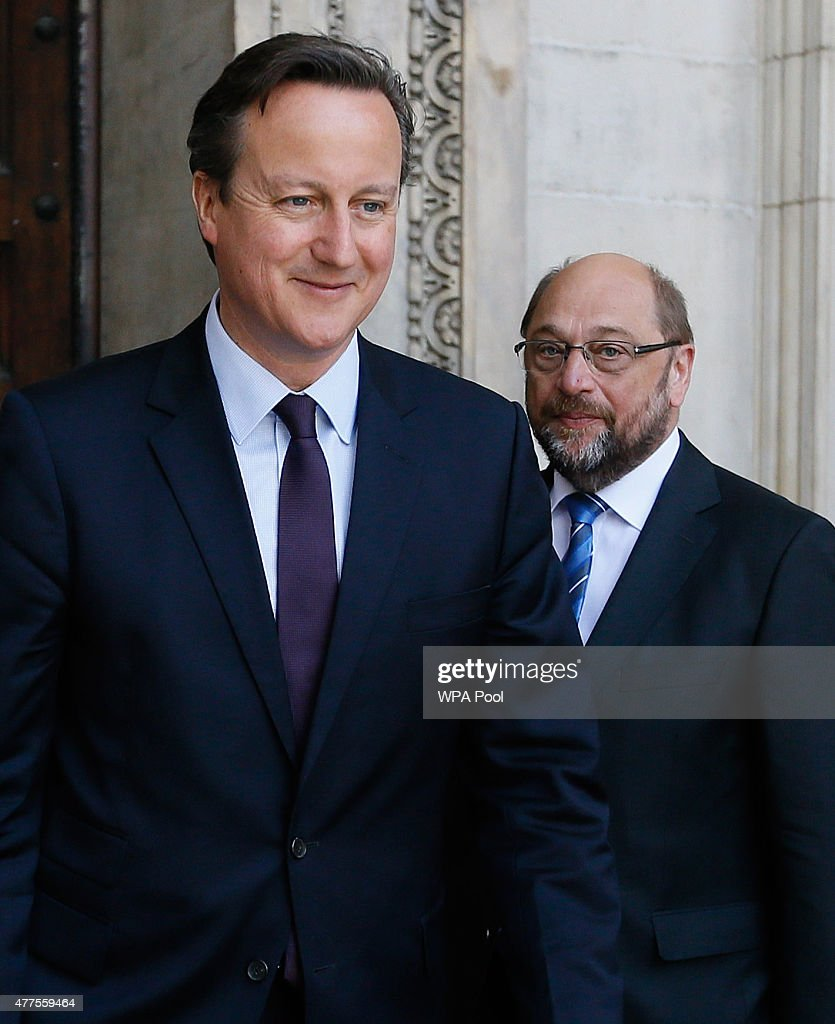 Prime Minister David Cameron (L) and Martin Schulz, President of the European Parliament (R) leave after attending a commemoration service to mark the 200th Anniversary of the Battle of Waterloo, at St Paul's Cathedral on June 18, 2015 in London, England.