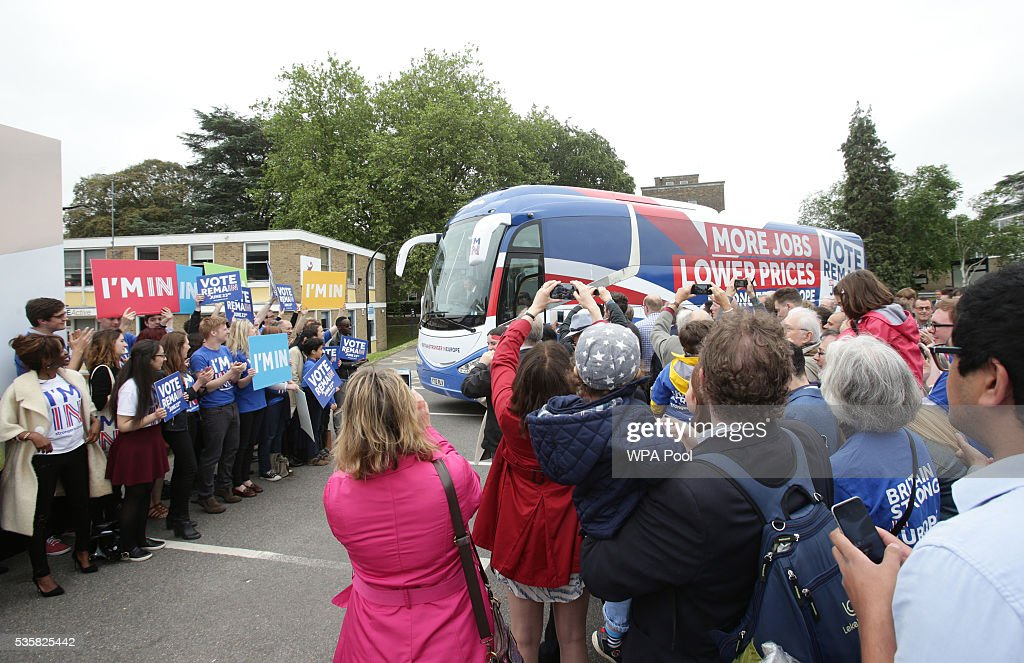 Prime Minister David Cameron and Mayor of London Sadiq Khan arrive on their battle bus to launch the Britain Stronger in Europe guarantee card at Roehampton University on May 20, 2016 in London, United Kingdom. The 'guarantee card' lists five pledges should Britain remain in the EU, including the protection of workers' rights, full access to the single market and stability for Britain. U.K voters go to the polls on June 23 to vote in a referendum on the continued membership of the UK in the European Union.