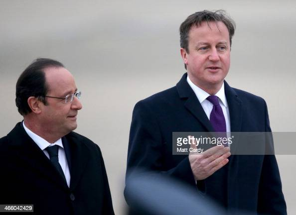 Prime Minister David Cameron and President Francois Hollande meet for a joint summit at RAF Brize Norton on January 31 2014 in Brize Norton England...