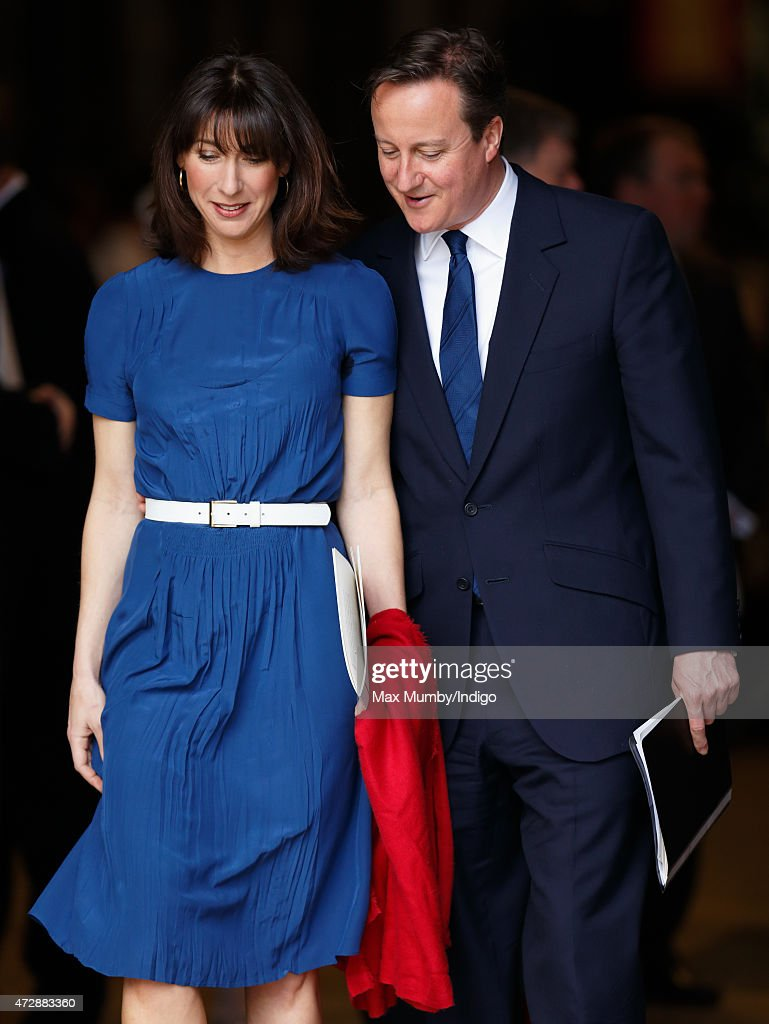 Prime Minister David Cameron and Samantha Cameron attend a Service of Thanksgiving to mark the 70th Anniversary of VE Day at Westminster Abbey on May 10, 2015 in London, England.