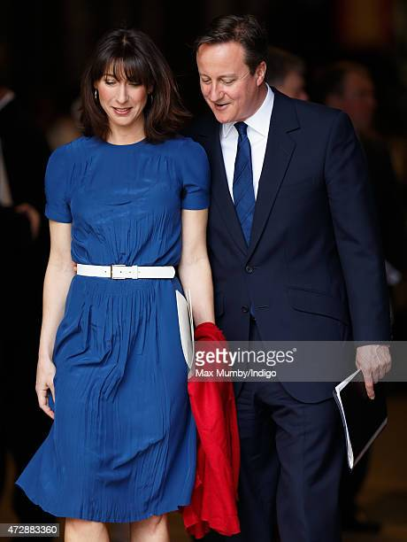 Prime Minister David Cameron and Samantha Cameron attend a Service of Thanksgiving to mark the 70th Anniversary of VE Day at Westminster Abbey on May...