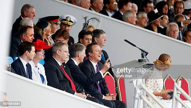Prime Minister David Cameron and Secretary of State for Defence Philip Hammond attended the naming of the Royal Navy's new aircraft carrier HMS Queen...