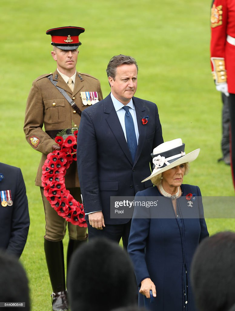 Prime Minister David Cameron and the Camillla, Duchess of Cornwall attend a service to mark the 100th anniversary of the beginning of the Battle of the Somme at the Thiepval memorial to the Missing on July 1, 2016 in Thiepval, France. The event is part of the Commemoration of the Centenary of the Battle of the Somme at the Commonwealth War Graves Commission Thiepval Memorial in Thiepval, France, where 70,000 British and Commonwealth soldiers with no known grave are commemorated.