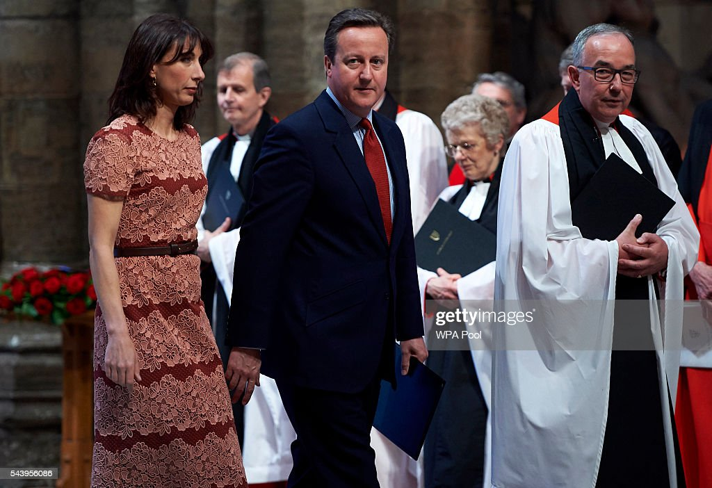 Prime Minister <a gi-track='captionPersonalityLinkClicked' href=/galleries/search?phrase=David+Cameron+-+Politician&family=editorial&specificpeople=227076 ng-click='$event.stopPropagation()'>David Cameron</a> and wife Samantha arrive to attend a Service on the Eve of the Centenary of the Battle of the Somme at Westminster Abbey on June 30, 2016 in London, United Kingdom.