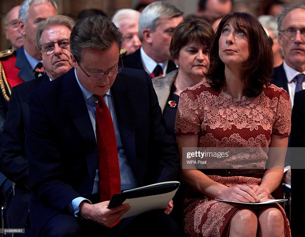 Prime Minister <a gi-track='captionPersonalityLinkClicked' href=/galleries/search?phrase=David+Cameron+-+Politician&family=editorial&specificpeople=227076 ng-click='$event.stopPropagation()'>David Cameron</a> and wife Samantha attend a Service on the Eve of the Centenary of the Battle of the Somme at Westminster Abbey on June 30, 2016 in London, United Kingdom.