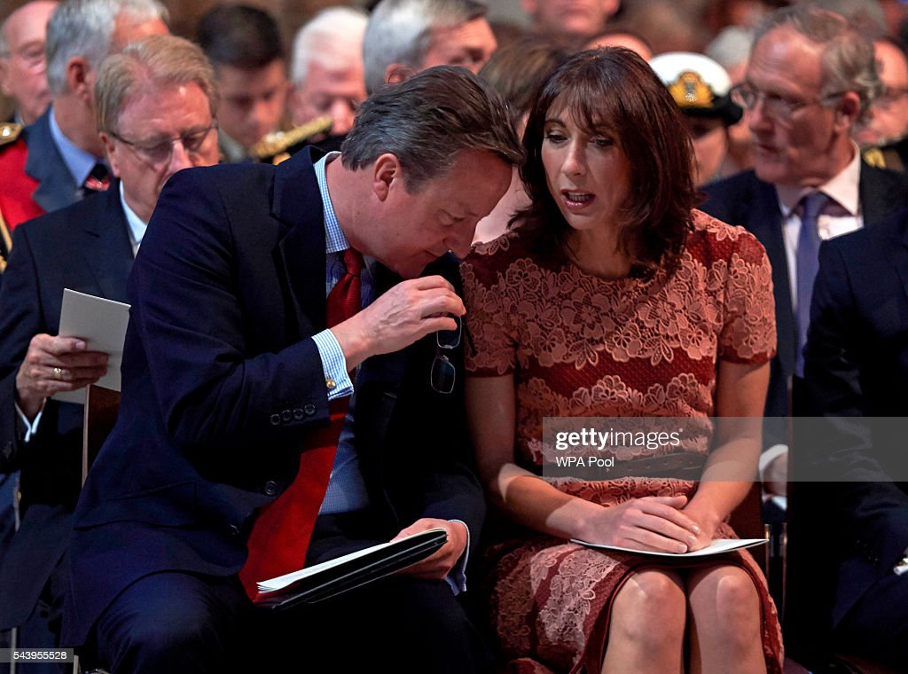 Prime Minister <a gi-track='captionPersonalityLinkClicked' href=/galleries/search?phrase=David+Cameron+-+Politician&family=editorial&specificpeople=227076 ng-click='$event.stopPropagation()'>David Cameron</a> and wife Samantha speak before a Service on the Eve of the Centenary of the Battle of the Somme at Westminster Abbey on June 30, 2016 in London, United Kingdom.