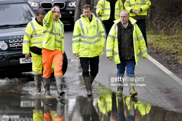 Prime Minister David Cameron arrives at a pumping operation on the Somerset Levels near Othery Bridgwater during a visit to see the extent of the...