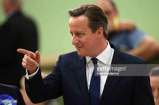 Prime Minister David Cameron arrives for his constituency declaration on May 8 2015 in Witney England The United Kingdom has gone to the polls to...