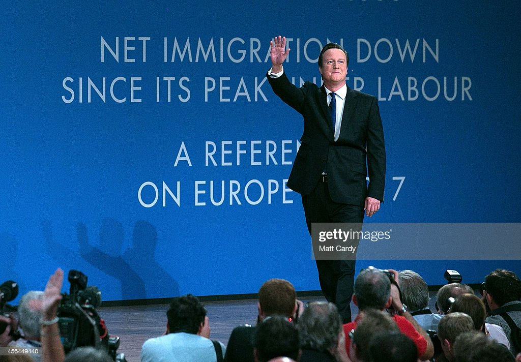 Prime Minister David Cameron arrives to give his keynote speech to the Conservative party conference on October 1 2014 in Birmingham England The...
