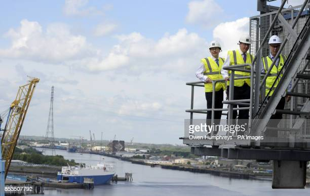 Prime Minister David Cameron at the Port of Tyne in Tyne and Wear as he visited the area with Martin Callanan MEP and the Ports's CEO Andrew Moffat...