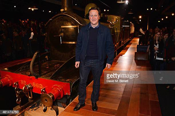 Prime Minister David Cameron attends a performance of 'The Railway Children' at King's Cross Theatre on January 10 2015 in London England