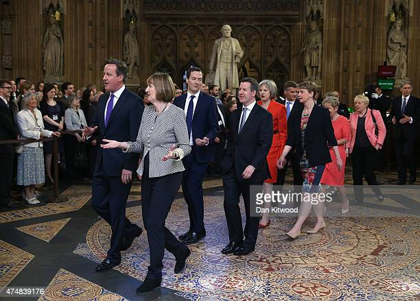 Prime Minister David Cameron Chancellor of the Exchequer George Osborne and acting leader of the Labour Party Harriet Harman process with fellow...