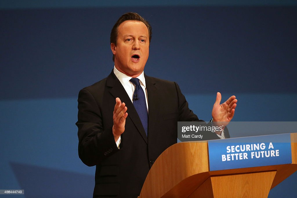Prime Minister David Cameron delivers his keynote speech at the Conservative Party Conference in the main hall of the ICC Birmingham on October 1...