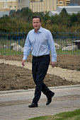 Prime Minister David Cameron during a visit to the new Taylor Wimpy Great Western Park housing estate on September 27 in Didcot Oxfordshire England...