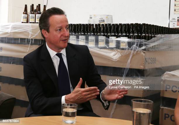 Prime Minister David Cameron during his visit to a small business start up Seven Bro7hers brewery in Salford