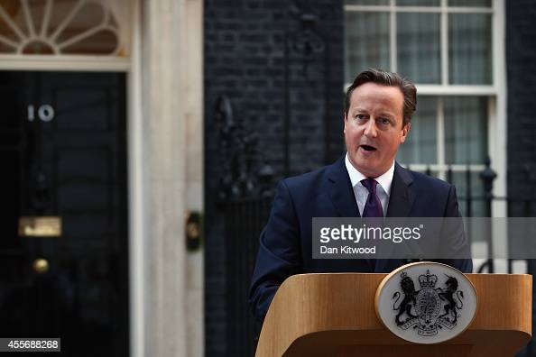 Prime Minister David Cameron gives a press conference following the results of the Scottish referendum on independence outside 10 Downing Street on...
