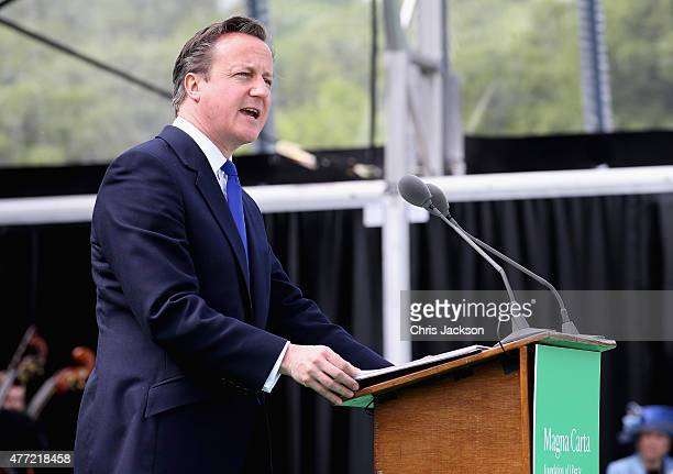 Prime Minister David Cameron gives a speech at a Magna Carta 800th Anniversary Commemoration Event on June 15 2015 in Runnymede United Kingdom...