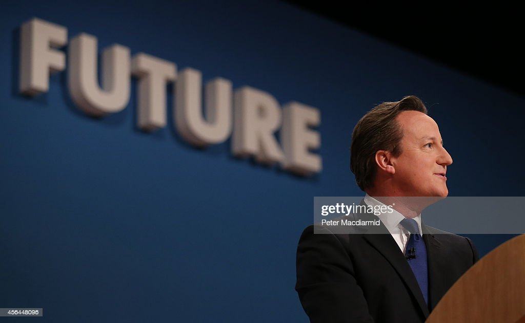 Prime Minister David Cameron gives his keynote speech to the Conservative party conference on October 1 2014 in Birmingham England The Prime...