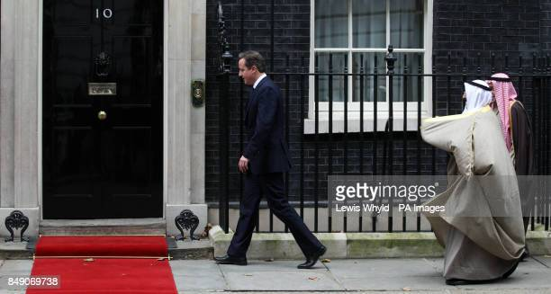 Prime Minister David Cameron greets The Amir of the State of Kuwait His Highness Sheikh Sabah AlAhmad Aljaber AlSabah outside 10 Downing St during...