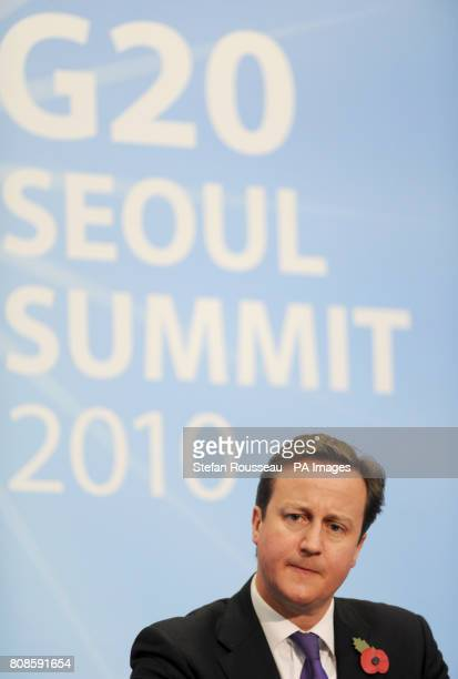 Prime Minister David Cameron holds a news conference after a meeting at the G20 Summit in Seoul South KoreaPicture date Friday November 12 2010 World...
