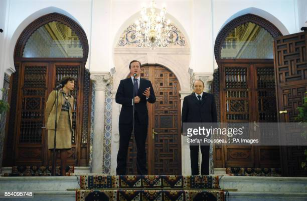 Prime Minister David Cameron holds a news conference with the Algerian President Abdelaziz Bouteflika at the Presidential Palace in Algiers Algeria
