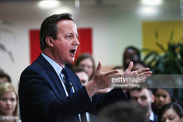 Prime Minister David Cameron holds a QA session on the forthcoming European Union referendum with staff of PricewaterhouseCoopers on April 5 2016 in...