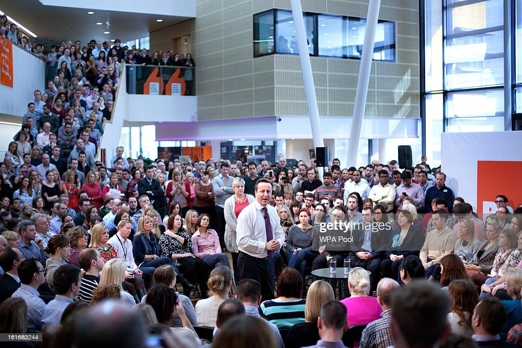 Prime Minister <a gi-track='captionPersonalityLinkClicked' href=/galleries/search?phrase=David+Cameron+-+Politician&family=editorial&specificpeople=227076 ng-click='$event.stopPropagation()'>David Cameron</a> is seen at the headquarters for B&Q, the DiY superstore during the campaign period prior to a by-election on February 14, 2013 in Eastleigh, Hampshire. A by-election has been called in the constituency of Eastleigh after its former MP, Chris Huhne, resigned after pleading guilty to perverting the course of justice over claims his ex-wife took speeding points for him in 2003.