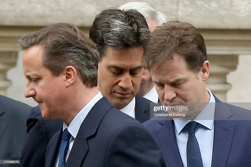 Prime Minister David Cameron, Labour Party leader Ed Miliband and Liberal Democrat leader Nick Clegg attend a tribute at the Cenotaph to begin three days of national commemorations to mark the 70th anniversary of VE Day on May 8, 2015 in London, England. Leaders of the United Kingdom are gathering together after the country went to the polls yesterday and voted to keep Conservative party leader David Cameron as Prime Minister. Great Britain now starts three days of national commemorations of street parties, concerts and other events across the country to remember the end of World War II in Europe.