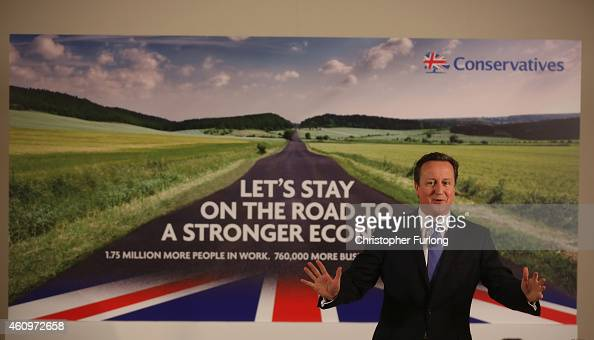 Prime Minister David Cameron launches the Conservative party's first election campaign poster at Dean Clough Mill on January 2 2015 in Halifax...