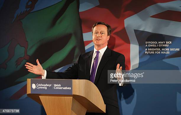 Prime Minister David Cameron launches the Conservative Welsh manifesto on April 17 2015 in Builth Wells Wales The Prime Minister is spending the day...