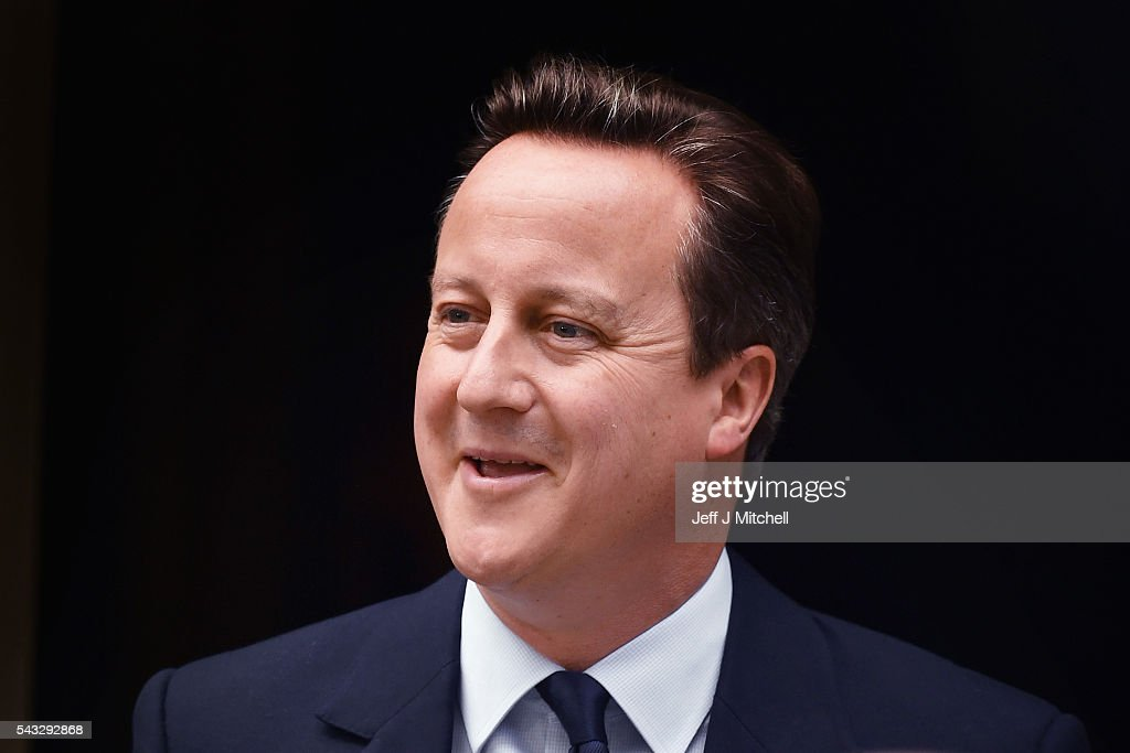 Prime Minister, <a gi-track='captionPersonalityLinkClicked' href=/galleries/search?phrase=David+Cameron+-+Politician&family=editorial&specificpeople=227076 ng-click='$event.stopPropagation()'>David Cameron</a> leaves 10 Downing Street following a cabinet meeting on June 27, 2016 in London, England. British Prime Minister <a gi-track='captionPersonalityLinkClicked' href=/galleries/search?phrase=David+Cameron+-+Politician&family=editorial&specificpeople=227076 ng-click='$event.stopPropagation()'>David Cameron</a> chaired an emergency Cabinet meeting this morning, after Britain voted to leave the European Union. Chancellor George Osborne spoke at a press conference ahead of the start of financial trading and outlining how the Government will 'protect the national interest' after the UK voted to leave the EU.