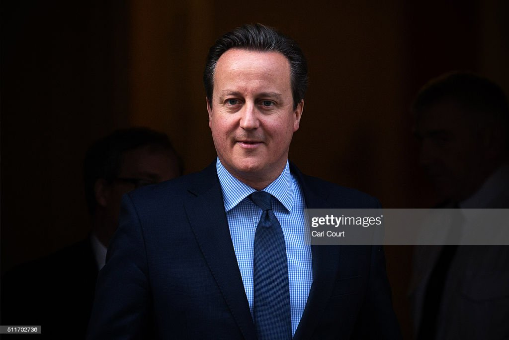 Prime Minister <a gi-track='captionPersonalityLinkClicked' href=/galleries/search?phrase=David+Cameron+-+Politician&family=editorial&specificpeople=227076 ng-click='$event.stopPropagation()'>David Cameron</a> leaves 10 Downing Street on February 22, 2016 in London, England. Mr Cameron is due to make a statement to the House of Commons after a weekend of negotiations with European Union member states.