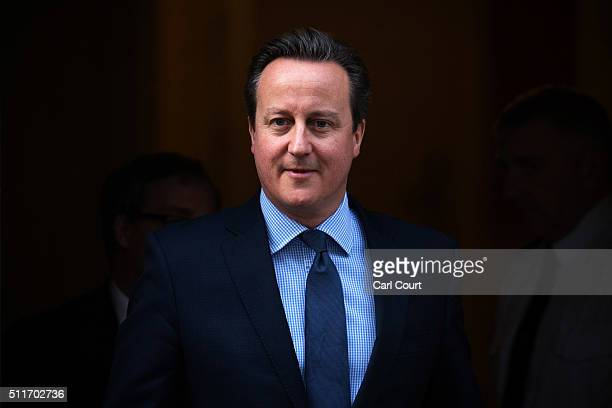 Prime Minister David Cameron leaves 10 Downing Street on February 22 2016 in London England Mr Cameron is due to make a statement to the House of...
