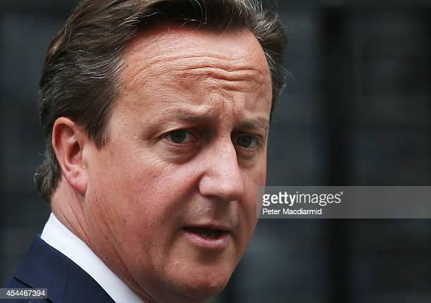 Prime Minister David Cameron leaves Downing Street on September 1 2014 in London England Mr Cameron is expected to announce new counterterrorism...