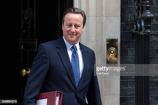 Prime Minister David Cameron leaves number 10 Downing Street to attend his final Prime Minister's questions on July 13 2016 in London England David...