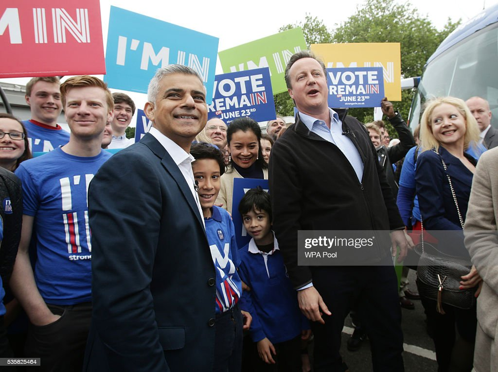 Prime Minister <a gi-track='captionPersonalityLinkClicked' href=/galleries/search?phrase=David+Cameron+-+Politico&family=editorial&specificpeople=227076 ng-click='$event.stopPropagation()'>David Cameron</a> makes a joint appearance with Mayor of London <a gi-track='captionPersonalityLinkClicked' href=/galleries/search?phrase=Sadiq+Khan&family=editorial&specificpeople=3431876 ng-click='$event.stopPropagation()'>Sadiq Khan</a> as they launch the Britain Stronger in Europe guarantee card at Roehampton University on May 20, 2016 in London, United Kingdom. The 'guarantee card' lists five pledges should Britain remain in the EU, including the protection of workers' rights, full access to the single market and stability for Britain. U.K voters go to the polls on June 23 to vote in a referendum on the continued membership of the UK in the European Union.