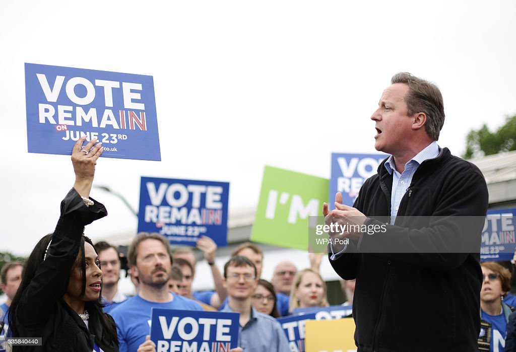 Prime Minister <a gi-track='captionPersonalityLinkClicked' href=/galleries/search?phrase=David+Cameron+-+Politician&family=editorial&specificpeople=227076 ng-click='$event.stopPropagation()'>David Cameron</a> makes a joint appearance with Mayor of London <a gi-track='captionPersonalityLinkClicked' href=/galleries/search?phrase=Sadiq+Khan&family=editorial&specificpeople=3431876 ng-click='$event.stopPropagation()'>Sadiq Khan</a> as they launch the Britain Stronger in Europe guarantee card at Roehampton University on May 20, 2016 in London, United Kingdom. The 'guarantee card' lists five pledges should Britain remain in the EU, including the protection of workers' rights, full access to the single market and stability for Britain. U.K voters go to the polls on June 23 to vote in a referendum on the continued membership of the UK in the European Union.