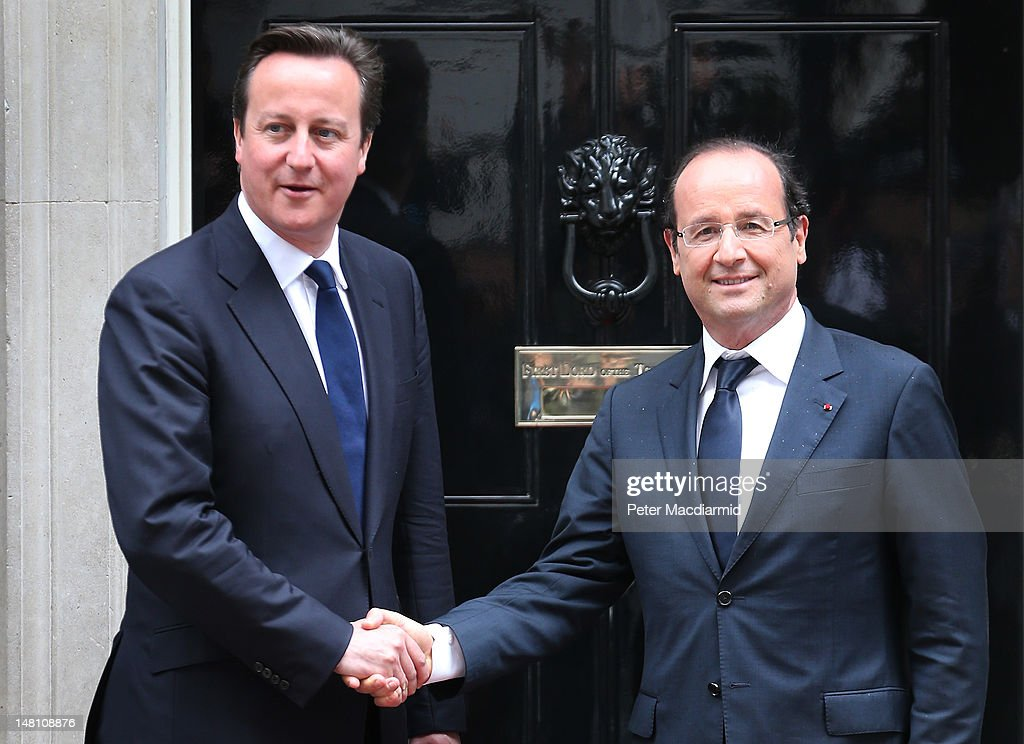 Prime Minister David Cameron (L) meets French President Francois Hollande in Downing Street on July 10, 2012 in London, England. This is the French President's first official visit to the United Kingdom, during which he will attend meetings with British Prime Minister David Cameron and Queen Elizabeth II.