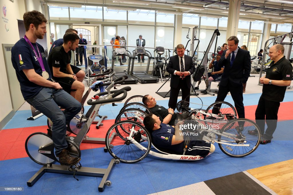 Prime Minister David Cameron meets injured soldiers Staff Sgt Steve Arnold and Sgt Simon Harmer Jonpaul Nevin and JonAllan Butterworth at Tedworth...