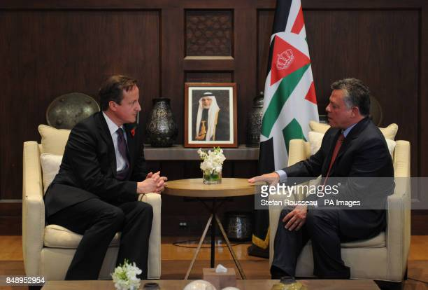 Prime Minister David Cameron meets King Abdullah of Jordan at the Royal Palace in Amman today Earlier he visited the Za'atri refugee camp near the...