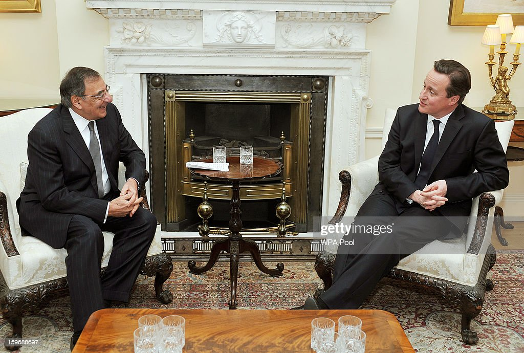 Prime Minister <a gi-track='captionPersonalityLinkClicked' href=/galleries/search?phrase=David+Cameron+-+Politician&family=editorial&specificpeople=227076 ng-click='$event.stopPropagation()'>David Cameron</a> meets with Leon Panetta the US Secretary of State for Defence at number 10, Downing Street on January 18, 2013 in London, United Kingdom. The Defense Secretary is currently on a week-long through Europe.